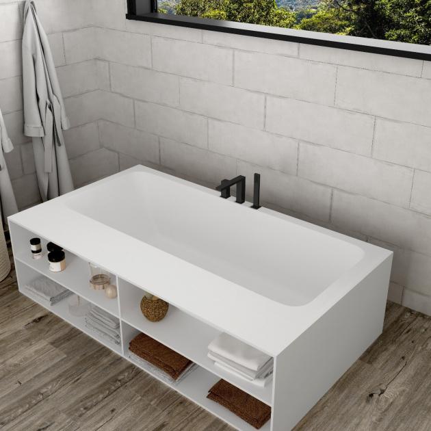 B-Round - Built-in DuPont™ Corian® Bathtub - 3 Panels & Front shelf