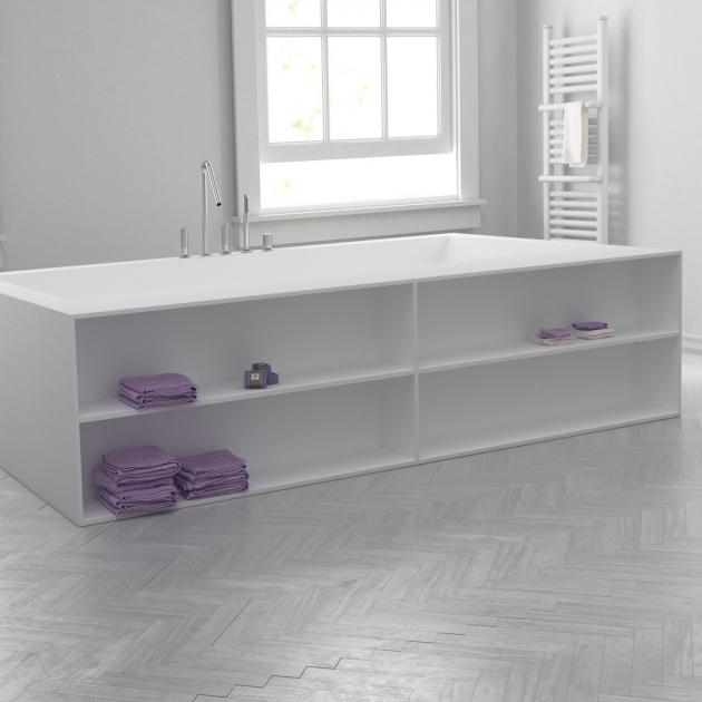 B-Flat - Built-in DuPont™ Corian® Bathtub - Front shelves