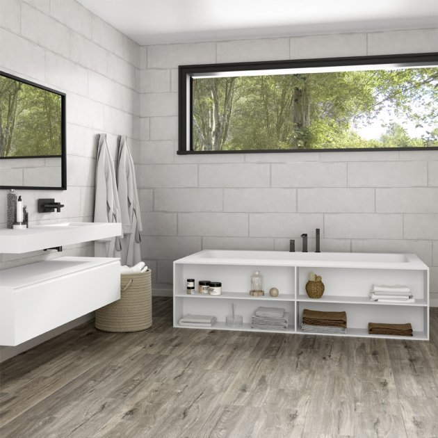 B-Round - Built-in DuPont™ Corian® Bathtub - 3 Panels & Front shelf