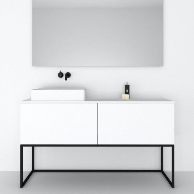 Combi Steel Base - Freestanding MDF Vanity Cabinet 2 drawers