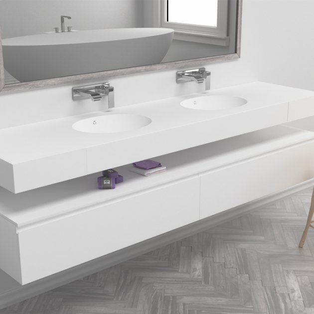 Calm - DuPont™ Corian® Wall Mounted Double Washbasin
