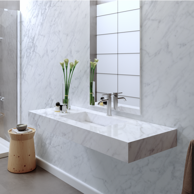 Carrara C2 - Marble Wall Mounted Washbasin