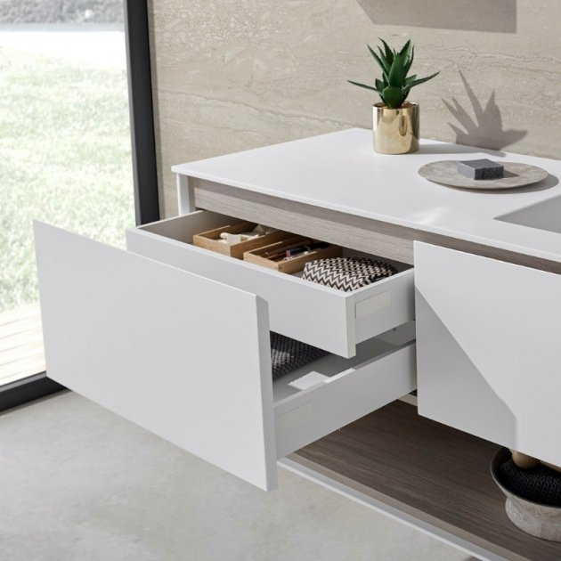 Toronto Carthage - Wall Mounted DuPont™ Corian® Vanity Unit 2 drawers