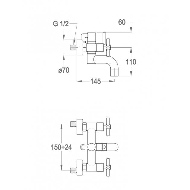 Deck Mounted Bathtub Tap - 35.3400.0