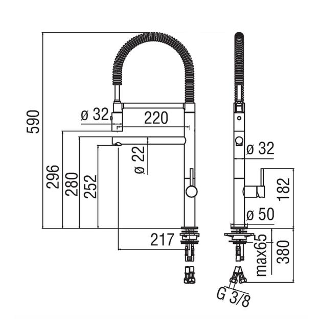Deck Mounted Kitchen Tap - AQ93300 / 50CR