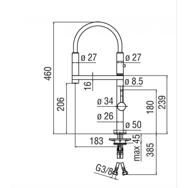 Deck Mounted Kitchen Tap - MV92400/50CR
