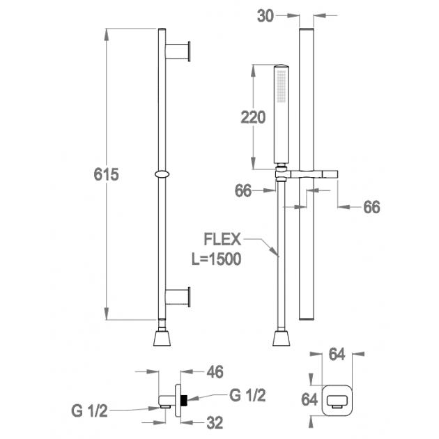 Wall Mounted Single Lever Bathtub Tap - 88.3889.0