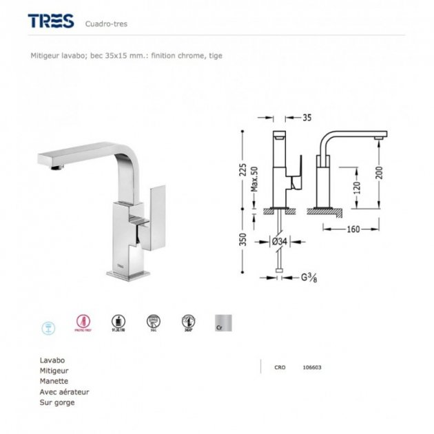 Deck Mounted Single Lever Kitchen Tap - 106603