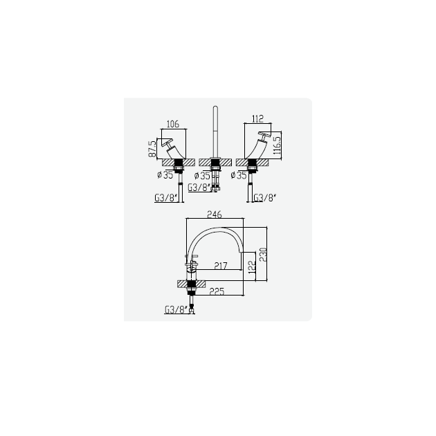 Deck Mounted Single Lever Kitchen Tap - 106 25 001