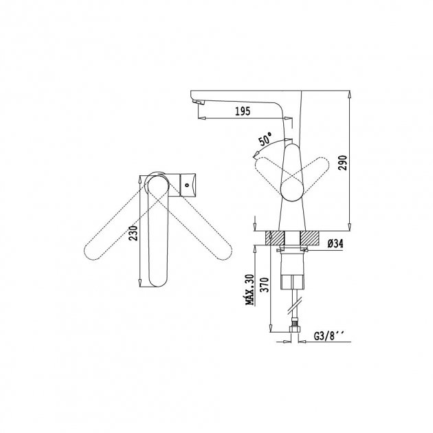 Deck Mounted Single Lever Kitchen Tap - 114 05 001