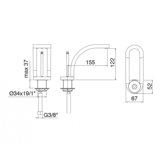 Deck Mounted Single Lever Washbasin Tap - 7011