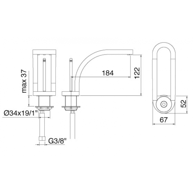 Deck Mounted Single Lever Washbasin Tap - 7011CL