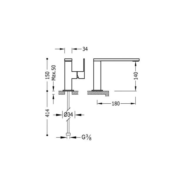 Deck Mounted Washbasin Tap - 10620501