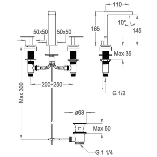 Deck Mounted Washbasin Tap - 38.1250.5
