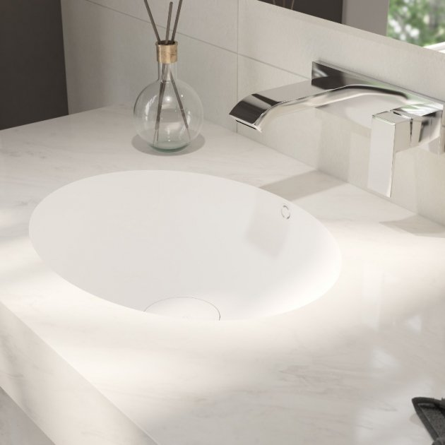 Corian® Colour Oval - Wall Mounted Double Washbasin