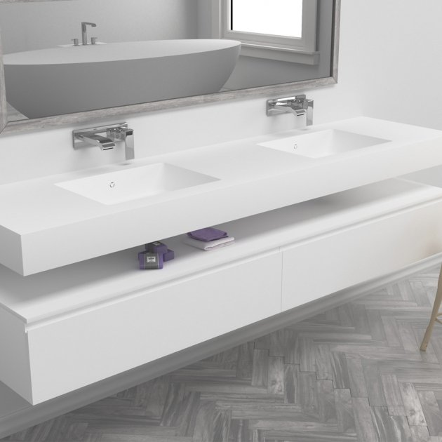 Energy - DuPont™ Corian® Wall Mounted Double Washbasin