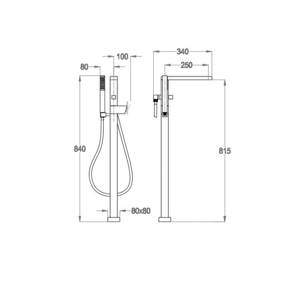 Floor Mounted Bathtub Tap - 85.3328.2