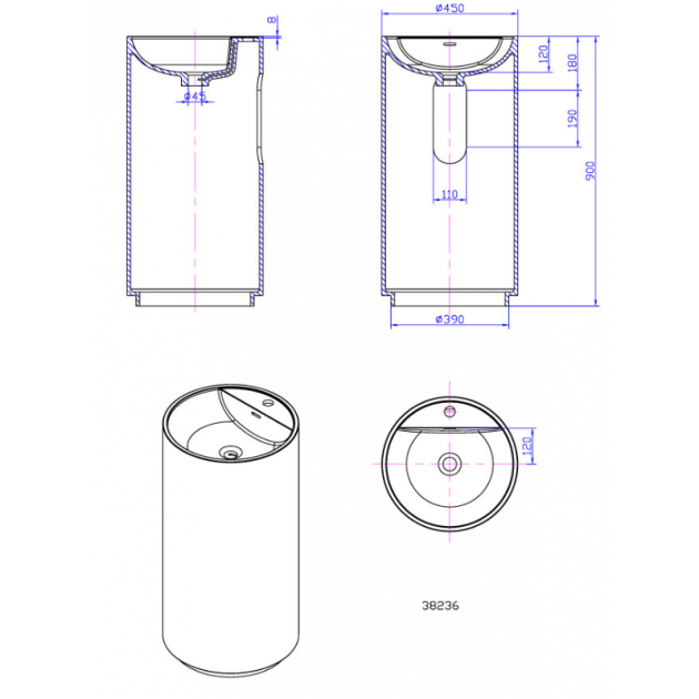 Dusk - Solid Surface Freestanding Washbasin
