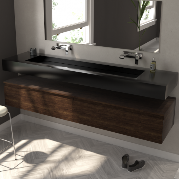 Georgia - Corian® Deep Nocturne Wall Mounted Washbasin