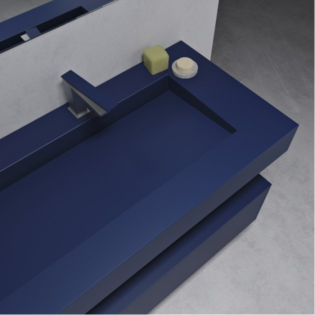 Corian® Colour Georgia Modulo Push - Wall Mounted Washbasin 2 Drawers