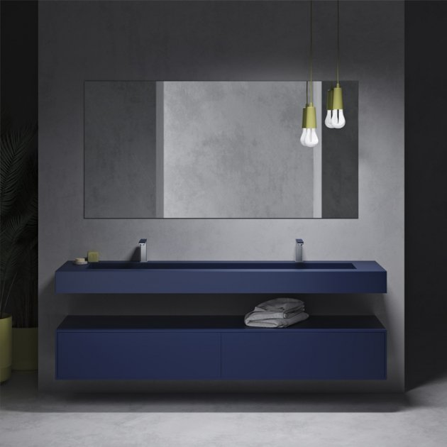 Corian® Colour Georgia - Wall Mounted Washbasin + 2 Drawers Cabinet