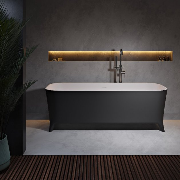 Lofty Black&White 160cm - Freestanding Solid Surface Bathtub