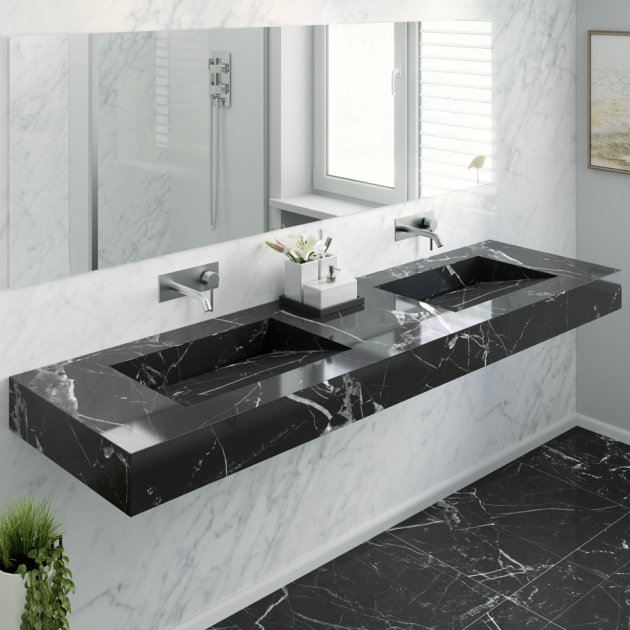 Marquina C1 - Marble Wall Mounted Double Washbasin