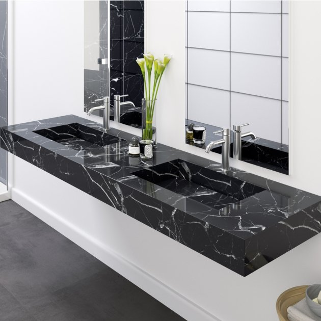 Marquina C2 - Marble Wall Mounted Double Washbasin