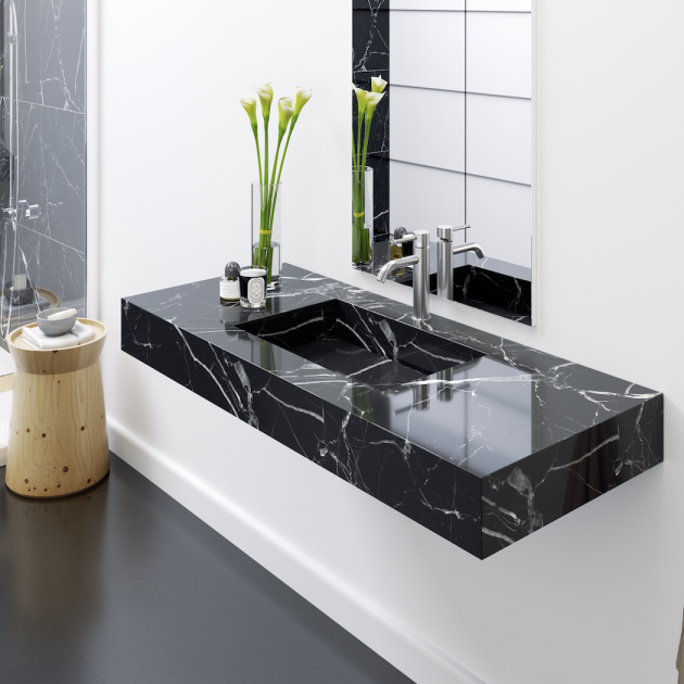Marquina C2 - Marble Wall Mounted Washbasin