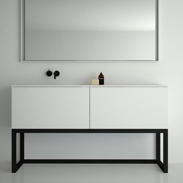 Combi Steel Base - Freestanding MDF Vanity Unit 2 drawers