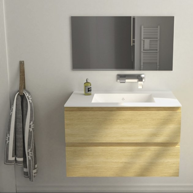 Modulo Wood - Wall Mounted Solid Oak Vanity Cabinet