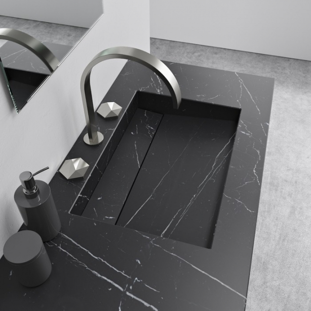 Alabama Nero Marquina - Marble Vanity Top Single Washbasin
