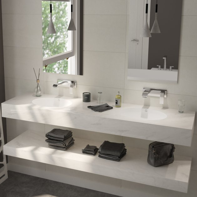 Oval Dune - DuPont™ Corian® Wall Mounted Double Washbasin