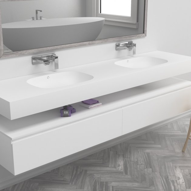 Peace - DuPont™ Corian® Wall Mounted Double Washbasin