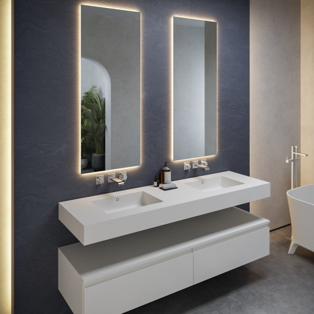 Quiet - DuPont™ Corian® Wall Mounted Double Washbasin - All Sizes