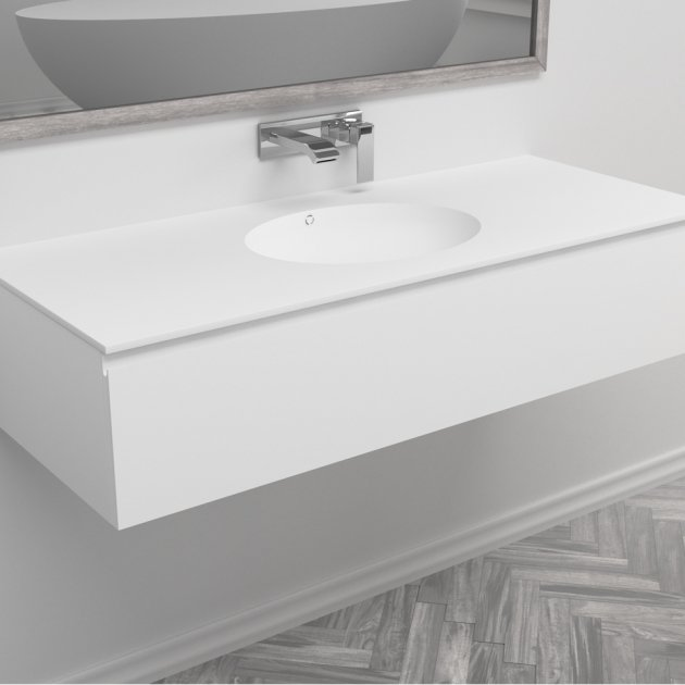 Red - Wall Mounted DuPont™ Corian® Vanity Unit