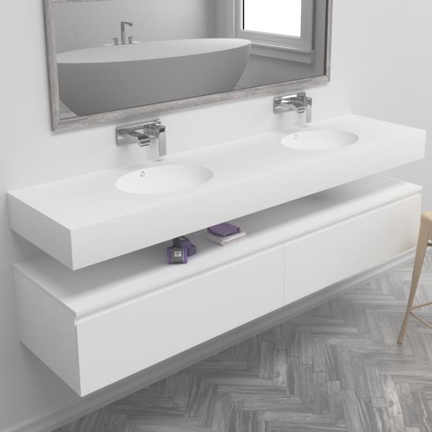 Relax - DuPont™ Corian® Wall Mounted Double Washbasin