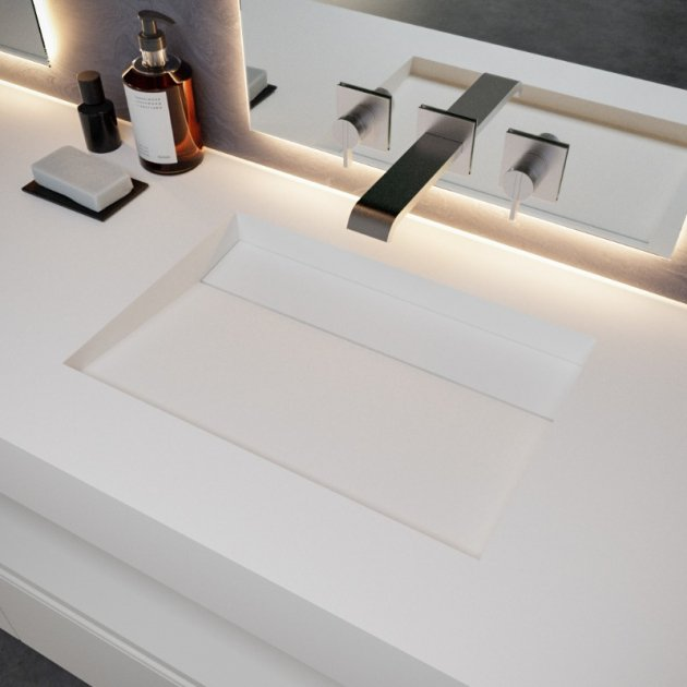 Alabama - DuPont™ Corian® Wall Mounted Double Washbasin