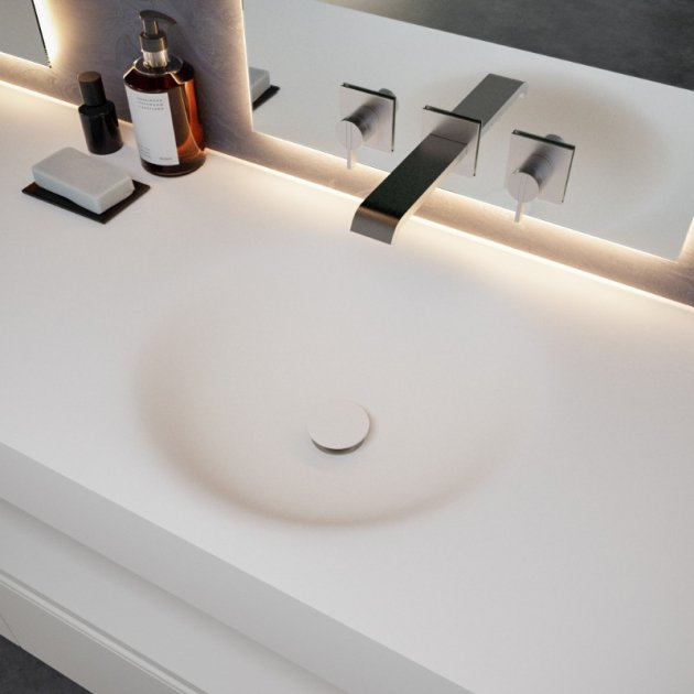 Red - Corian® Wall Mounted Double Washbasin