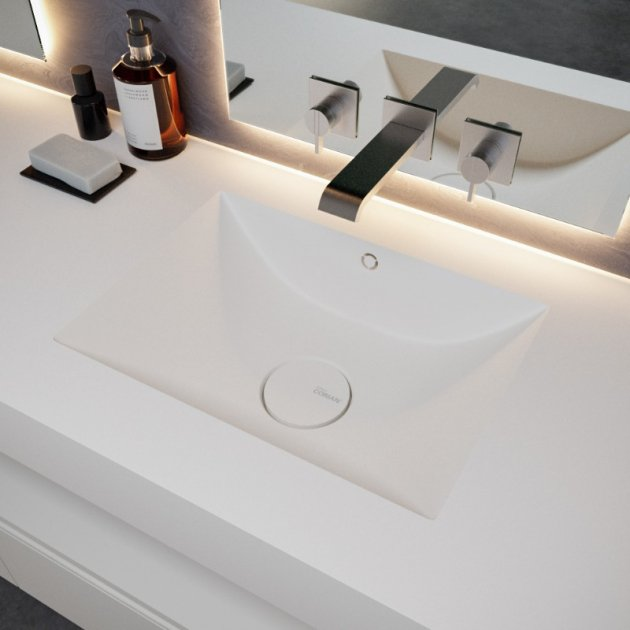 Refresh 7410 - DuPont™ Corian® Wall Mounted Double Washbasin - All Sizes