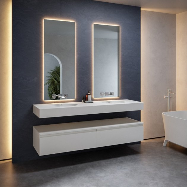 Relax - DuPont™ Corian® Wall Mounted Double Washbasin