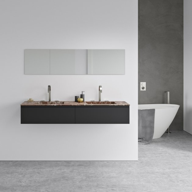 Rosso Levanto Alabama Vanity Top - Marble Double Washbasin