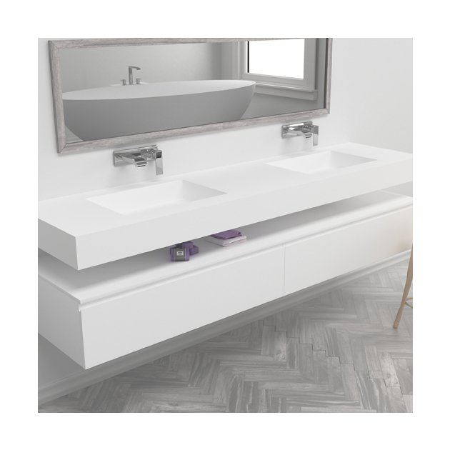 Square - DuPont™ Corian® Wall Mounted Double Washbasin