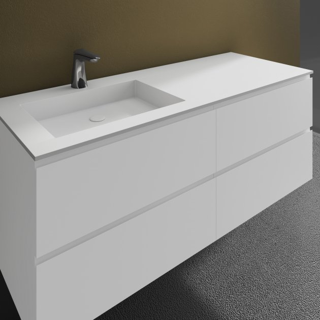 Square - Wall Mounted DuPont™ Corian® Vanity Unit 4 drawers