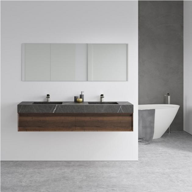 Square Grey Ara - Marble Wall Mounted Double Washbasin