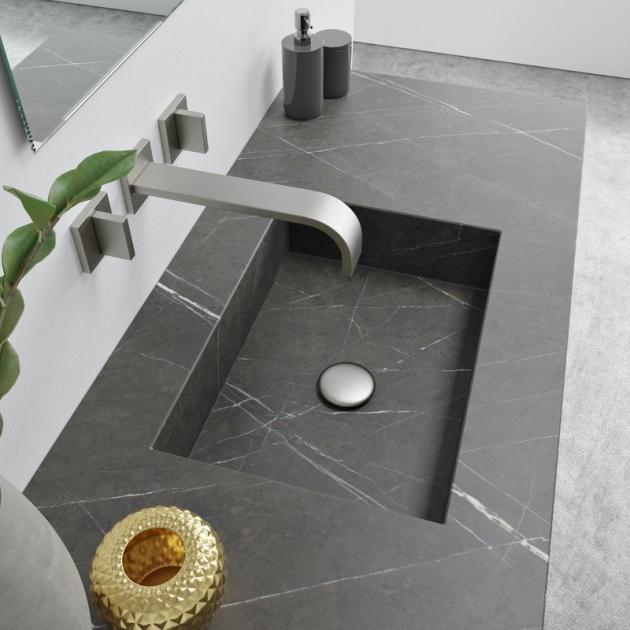 Square Grey Ara - Marble Wall Mounted Washbasin