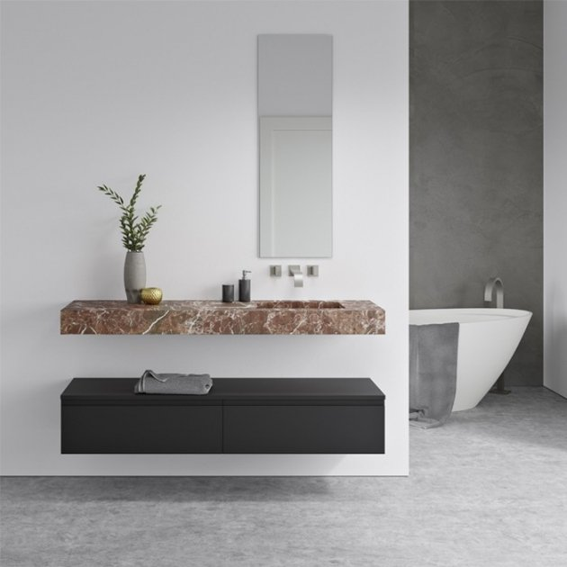 Square Rosso Levanto - Marble Wall Mounted Single Washbasin