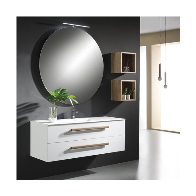 Tropic - Wall Mounted American Wood + Solid Surface Vanity Unit