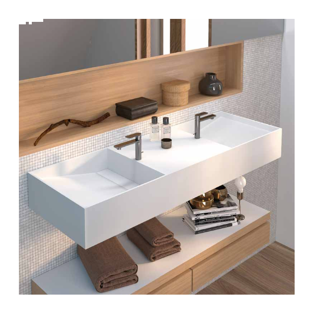 Violet - Solid Surface Wall Mounted Double Washbasin