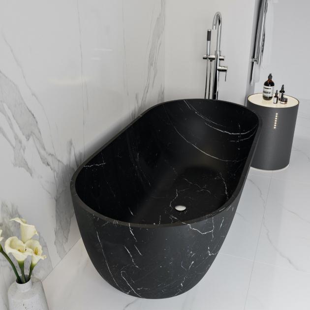 Zurich Nero Marquina - Freestanding Marble Bathtub